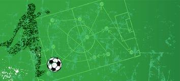 Grungy fotboll- eller fotbollillustration, temlate, utrymme för fri kopia stock illustrationer
