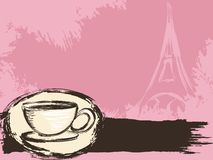 Grungy Franse koffieachtergrond vector illustratie