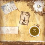 Grungy French coffee background Royalty Free Stock Images