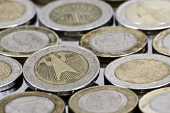 Grungy german euro coin. Close up Stock Image