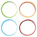 Grungy, geweven cirkels - Kleurrijke cirkels met geploeterde pijn vector illustratie