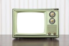 Grungy grünes Weinlese-Fernsehen mit herausgeschnittenem Schirm Lizenzfreie Stockfotos