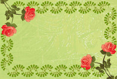 Grungy green frame with roses  in the corners Stock Images