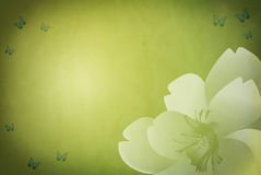 Grungy green spring background with floral motive. And butterflies Stock Illustration