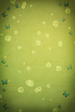 Grungy green spring background with floral motive. And butterflies Royalty Free Illustration