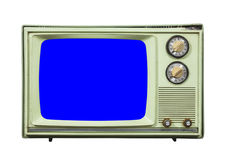 Grungy Green Vintage Television Isolated with Chroma Key Blue Sc Royalty Free Stock Photo