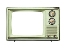 Grungy Green Vintage Television Isolated with Cut Out Screen Stock Photography
