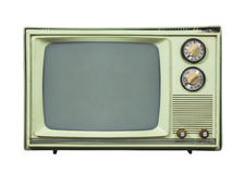 Grungy Green Vintage Television Isolated on White. Grungy green vintage television set isolated on white Royalty Free Stock Photography