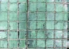 Grungy Groene Fayance-Details Stock Foto