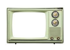 Grungy Groene Uitstekende die Televisie met het Verwijderde Scherm wordt geïsoleerd Stock Fotografie