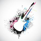 Grungy Guitar. Illustration of guitar shape with colorful grungy splash Stock Photography