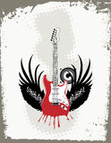 Grungy Guitar. Abstract grungy guitar background with wings Stock Photography