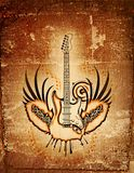 Grungy Guitar. Abstract grungy guitar background with wings royalty free illustration