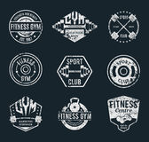 Grungy Gym and Fitness Label Templates and Athletic Badges Royalty Free Stock Photography