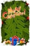 Grungy hälsningkort för glad jul Arkivbild