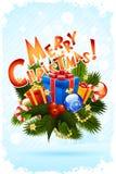 Grungy hälsningkort för glad jul Royaltyfria Bilder