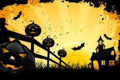 Grungy Halloween background. With pumpkins  bats house and full moon Royalty Free Stock Images