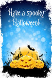 Grungy Halloween Background. With Pumpkins, Bats and Full Moon Stock Image