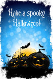 Grungy Halloween Background. With Pumpkin, Bats, Grass and Full Moon Royalty Free Stock Photo
