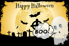 Grungy Halloween Background with Bats and Graveyard Stock Photography