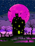 Grungy Halloween background. EPS 8. Grungy Halloween background with haunted house, bats and full moon. EPS 8  file included Royalty Free Stock Photography