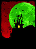 Grungy Halloween background. EPS 8. Grungy Halloween background with haunted house, bats and full moon. EPS 8  file included Stock Photos