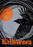 Grungy Halloween background with flying Raven. royalty free illustration