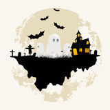 Grungy Halloween Background with Ghosts Stock Photo