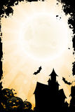 Grungy Halloween Background with Pumpkin. Rays and Haunted House Stock Photo