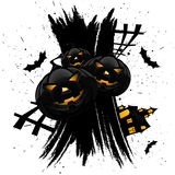 Grungy Halloween background with pumpkins Stock Photography