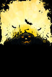 Grungy Halloween Background with Pumpkins. Bats, Grass and Full Moon Stock Photos