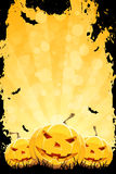 Grungy Halloween Background with Pumpkins. Grungy Halloween Party Background with Pumpkins and Bats Stock Images
