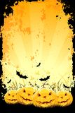 Grungy Halloween background with pumpkins and bats. Grungy Halloween background with pumpkins in grass and bats Royalty Free Stock Photography