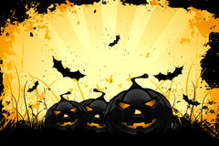 Grungy Halloween background with pumpkins and bats Stock Photos