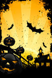 Grungy Halloween background with pumpkins and bats Stock Photography