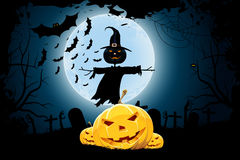 Grungy Halloween Background with Pumpkins and Scarecrow. Grungy Halloween Background with Pumpkins, Graveyard, Bats and Scarecrow. Tree silhouette Royalty Free Stock Photography