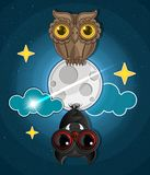 Grungy halloween background. With terrible owl, full moon, bats . Vector Illustration Stock Images