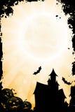 Grungy Halloween bakgrund med pumpa Arkivfoto