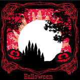 Grungy Halloween frame with haunted house. Illustration Stock Photos
