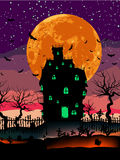 Grungy Halloween with haunted house. EPS 8. Grungy Halloween background with haunted house, bats and full moon. EPS 8  file included Royalty Free Stock Photos
