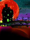 Grungy Halloween with haunted house. EPS 8. Grungy Halloween background with haunted house, bats and full moon. EPS 8  file included Stock Photos