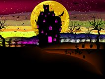 Grungy Halloween with haunted house. EPS 8 Stock Photos