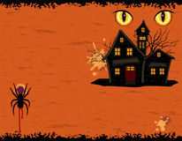 Grungy Halloween party card with ghosts mansion vector illustration