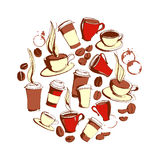 Grungy hand drawn circle shape ink coffee to go, cups, mugs, be Stock Image