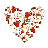 Grungy hand drawn heart shape ink coffee to go, cups, mugs, bean Royalty Free Stock Images