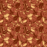 Grungy hand drawn ink roasted coffee beans seamless pattern. Royalty Free Stock Photography