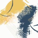 Grungy hand getrokken kwaststrekenpatroon Dynamische waterverfvormen Creatieve artistieke textuur De moderne decoratie van de ver royalty-vrije illustratie