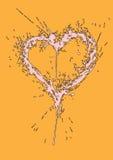 Grungy hart dat van verf wordt gemaakt ploetert Stock Fotografie