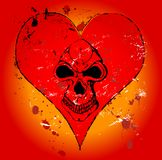 Grungy heart. Gothic love illustration, skull in a heart Royalty Free Stock Photography