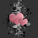 Grungy Heart Background. Graphic illustration of grungy abstract design with pink hearts against a gray background Stock Illustration